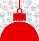 Snowflake Background with Christmas Paper Ball Royalty Free Stock Photo