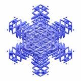 Snowflake background. One blue snowflake generated isolated white background Stock Photos