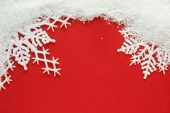 Snowflake background. Snowflake and snow on red background Royalty Free Stock Image