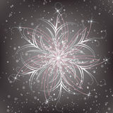 Snowflake on a background of snow. Vector illustration Royalty Free Stock Photography