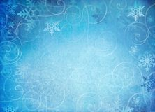 Snowflake background. Snowflake background with whimsical swirls and room for copy space stock photo