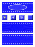 Snowflake Banner and Button Set. A set of three winter banners and four buttons. Each banner has snowflakes on a blue background. The buttons compliment the Royalty Free Stock Photo