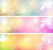 Snowflake Banners. An set of a light coloured snowflake banners, good for Christmas and festive occasions Royalty Free Stock Images