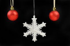 Snowflake and baubles Royalty Free Stock Photo