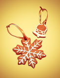 Snowflake and bell - Christmas cookies - isolated Stock Photos