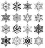 Snowflake black set Royalty Free Stock Image