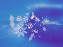 Snowflake blizzard. Snowflakes emitting from an icy tunnel Stock Photo