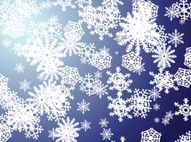 Snowflake blue. A snow flake scene falling from the sky Royalty Free Stock Photos
