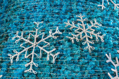 Snowflake and blue christmas tree Royalty Free Stock Image