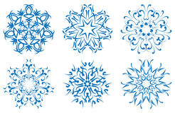 Snowflake blue flower on a white background. set Royalty Free Stock Photography