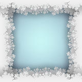 Snowflake blue frame. Abstract blue background with snowflake frame, paper cut out art style stock illustration