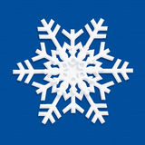 SNOWFLAKE 2019 blue craft paper. Christmas decoration. 2019 greeting card. Happy New Year banner. White Snowflake icon on BLUE background. Chinese Paper cut stock illustration