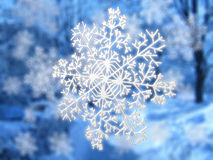 Snowflake on blue landscape Royalty Free Stock Photo