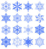 Snowflake blue set Royalty Free Stock Photography