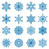 Snowflake Blue snow icon set Winter holiday symbols isolated Stock Images