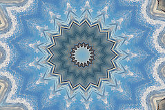 Snowflake blue star kaleidoscope pattern Royalty Free Stock Images