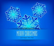 Snowflake in blue & text Stock Photo