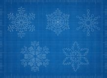 Snowflake Blueprint Background. Shoot of the Snowflake Blueprint Background royalty free stock photography