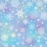 Snowflake on blur background.Winter vector. Christmas vector. Snowflake wreath on blur blue background or backdrop .Cool colors Stock Photo