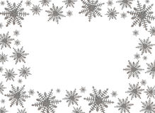 Snowflake Border. With white background, winter time Royalty Free Stock Image