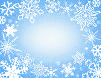 Snowflake border on blue Royalty Free Stock Photo