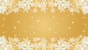 Snowflake  border frame -Gold color -EPS10 Stock Image