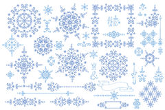 Snowflake,Border,frame set.Winter doodles decor Stock Image