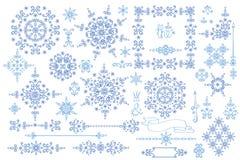Snowflake,Border,frame set.Winter doodles decor Stock Image