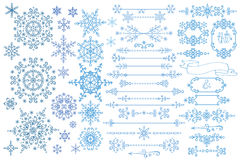 Snowflake,Border,frame set.Winter doodles decor Royalty Free Stock Image