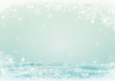 Snowflake border with snow hills background. Winter snowflake border with snow hills background