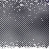 Snowflake border vector. Christmas falling snow. Abstract illustration Eps10. Graphic background