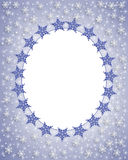 Snowflake Border winter Frame. Illustration composition for Christmas card, background, border or oval  frame with blue and white snowflakes. Insert your own Royalty Free Stock Photo