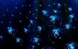 Snowflake Bubbles Dark. Snowflake glow bubbles dark blue abstract 3d illustration, horizontal, background Stock Illustration
