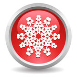 Snowflake button. Red vector glossy snowflake button Stock Photography