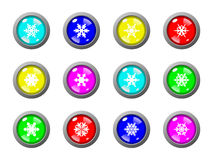 Snowflake Buttons. Shiny & glossy buttons with snowflakes Royalty Free Stock Photos