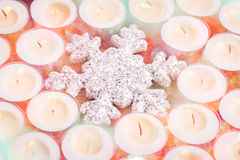 Snowflake with candles stock photos