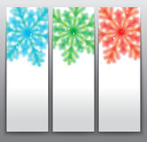 Snowflake Cards. Illustrations of three different snowflake designs Royalty Free Stock Photos
