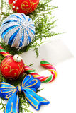 Snowflake, Christmas balls and greeting card. Royalty Free Stock Photo