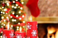 Snowflake Christmas candles Stock Photo