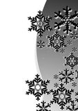 Snowflake Christmas card. Christmas card full of black snowflakes on the gray background Vector Illustration