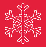 Snowflake  Christmas Card. Merry Christmas Snowflake White On Red Background Ilustration Vector Flat Stock Stock Image