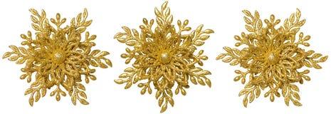 Snowflake Christmas Decoration Ornament, Xmas Gold Snow Flake. Isolated over White background Stock Photos