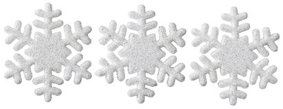 Snowflake Christmas Decoration, White Isolated Xmas Snow Flake. Decor Set Stock Image
