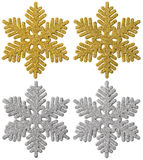 Snowflake Christmas Decoration, Xmas Decorative Snow Flake. Snowflake Christmas Decoration, Xmas Decorative Set, Gold Silver Sparkles Snow Flake, White Isolated Stock Photography