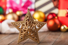 Snowflake. And christmas gifts Stock Image