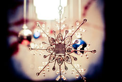 Snowflake christmas or holiday ornament Royalty Free Stock Image