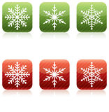 Snowflake Christmas Icons. Red and Green Royalty Free Illustration