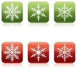 Snowflake Christmas Icons. Red and Green Stock Image