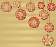 Snowflake Christmas Ornaments. On a Red and Gold Background Royalty Free Stock Photo