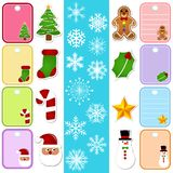 Snowflake and Christmas Paper Tag/Sticker Stock Images